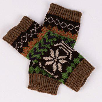 Pair of Casual Snowflake Arrow Pattern Knit Fingerless Gloves - COFFEE COFFEE