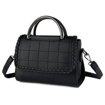 PU Leather Plaid Pattern Metal Shoulder Bag