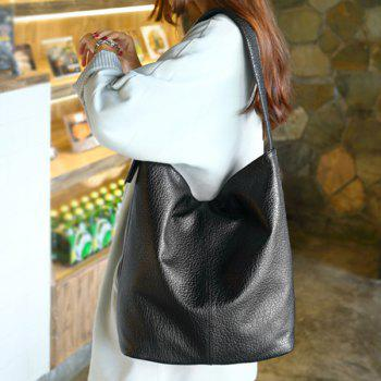 Dark Color PU Leather Buckle Shoulder Bag