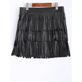 Faux Leather Fringed Mini Skirt