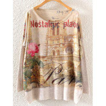 Letter Rose Building Print Loose Knitwear