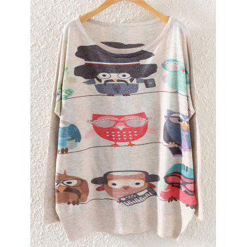 Cartoon Bird Print Loose Knitwear