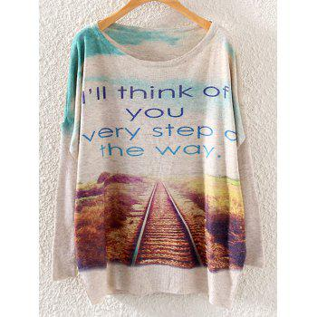 Sky Letter Track Print Loose Knitwear