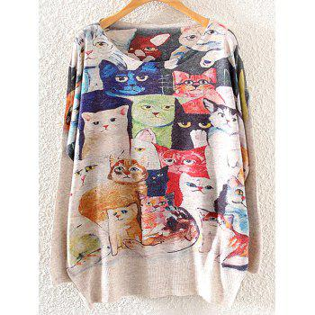 Cats Print Loose Knitwear
