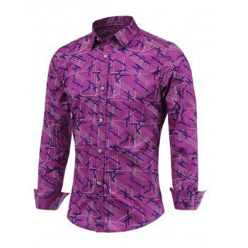 Chic Lines Printed Turn-Down Collar Long Sleeve Shirt For Men