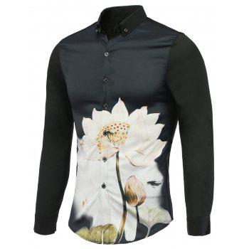 Refreshing Lotus Print Turn-Down Collar Long Sleeves Shirt For Men