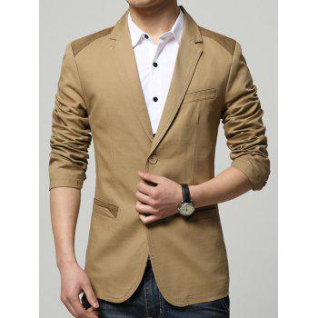 Single Breasted Sleeve Button Design Spliced Blazer