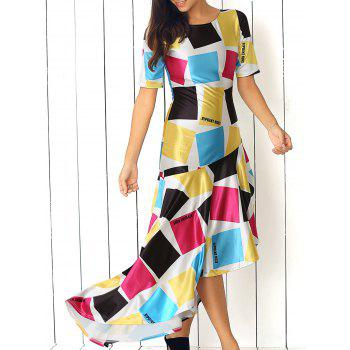 Ruffled Hem Colorful Print Dress
