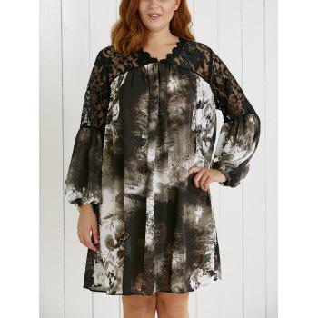 Plus Size Lace Spliced Ink Painting Dress