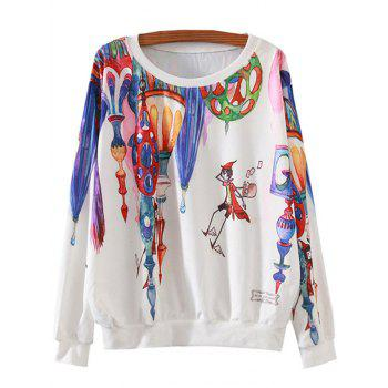 Magical Castle Cartoon Print Loose Sweatshirt