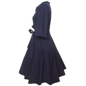 Retro Buttoned High-Waisted Belted Flare Dress - PURPLISH BLUE 2XL