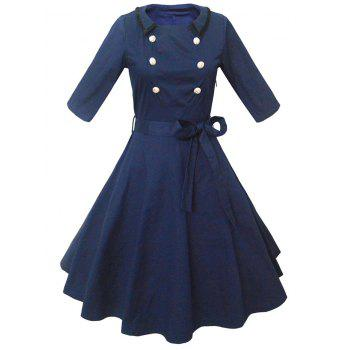 Retro Buttoned High-Waisted Belted Flare Dress - PURPLISH BLUE S