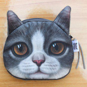 Zipper 3D Animal Kitten Coin Purse -  GRAY