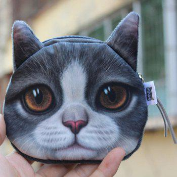 Zipper 3D Animal Kitten Coin Purse - GRAY GRAY