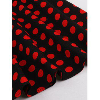 Halter Flare Polka Dot Dress - RED/BLACK S