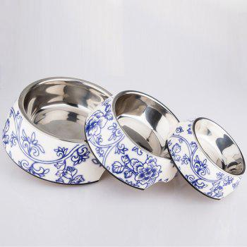 Floral Porcelain Double Layer Dog Bowl Pet Feeder - S S