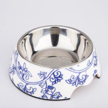 Floral Porcelain Double Layer Dog Bowl Pet Feeder - BLUE S
