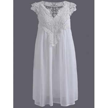 Plus Size Crochet Panel Short Formal Shift Dress