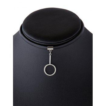 Circle Faux Leather Choker Necklace - SILVER