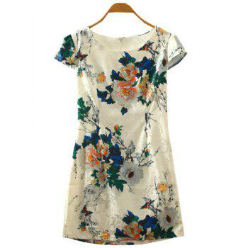 Retro Peony Floral Print Cape Sleeve Cheongsam Dress