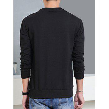 Col rond manches longues Color Block Spliced ​​design Sweatshirt - Noir XL
