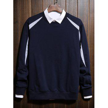 Col rond manches longues Color Block Spliced ​​design Sweatshirt - Bleu Saphir 3XL