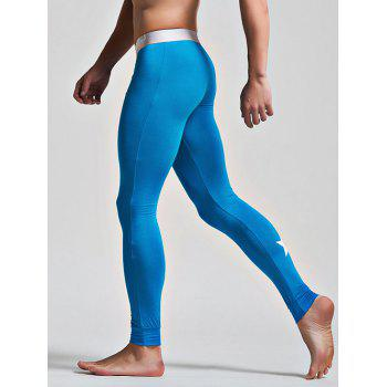 Color Block Letter and Star Print Band Long Johns Pants - AZURE M