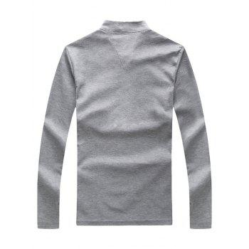 Letter Print Stand Collar Long Sleeve Polo T-Shirt - LIGHT GRAY M