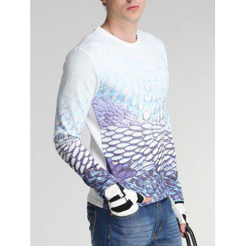 Col rond manches longues Ombre Drops Print Sweatshirt - Blanc 3XL