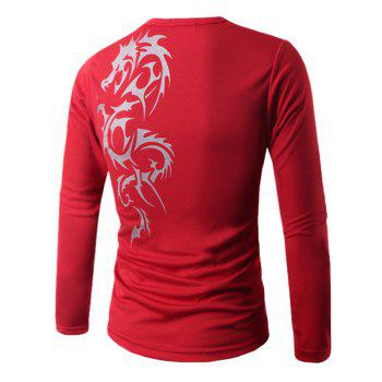Long Sleeve Round Neck Dragon Print T-Shirt - RED M
