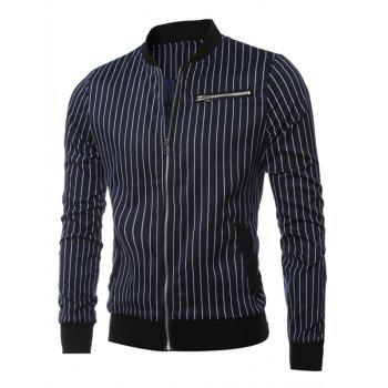 Vertical Striped Zippered Breast Pocket Long Sleeve Jacket - CADETBLUE M