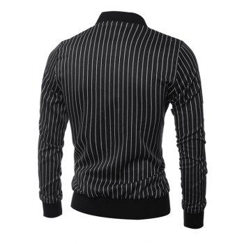 Vertical Striped Zippered Breast Pocket Long Sleeve Jacket - BLACK XL