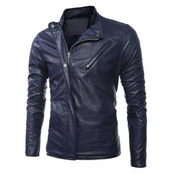 Long Sleeves Side Zip Up Faux Leather Jacket - DEEP BLUE M