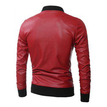 Stand Collar Zippered Rib Splicing PU Leather Jacket - RED L