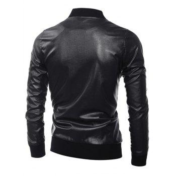 Stand Collar Zippered Rib Splicing PU Leather Jacket - BLACK M