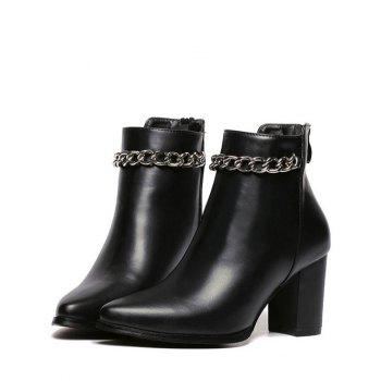 Chains Chunky Heel Pointed Toe Ankle Boots - BLACK 39