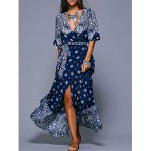 Bohemian Slit Print Long Wrap Dress