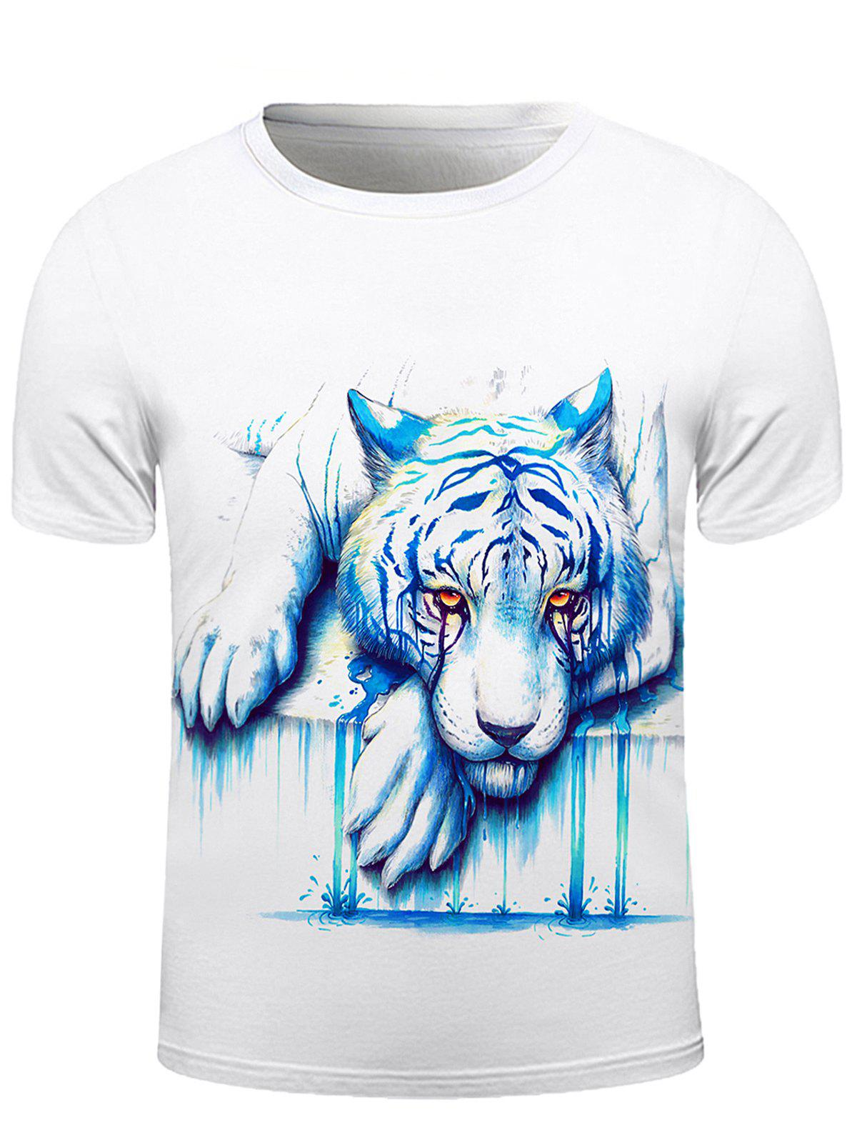 3D Crying Lion Print Round Neck Short Sleeve Stylish Men's T-Shirt - WHITE 2XL