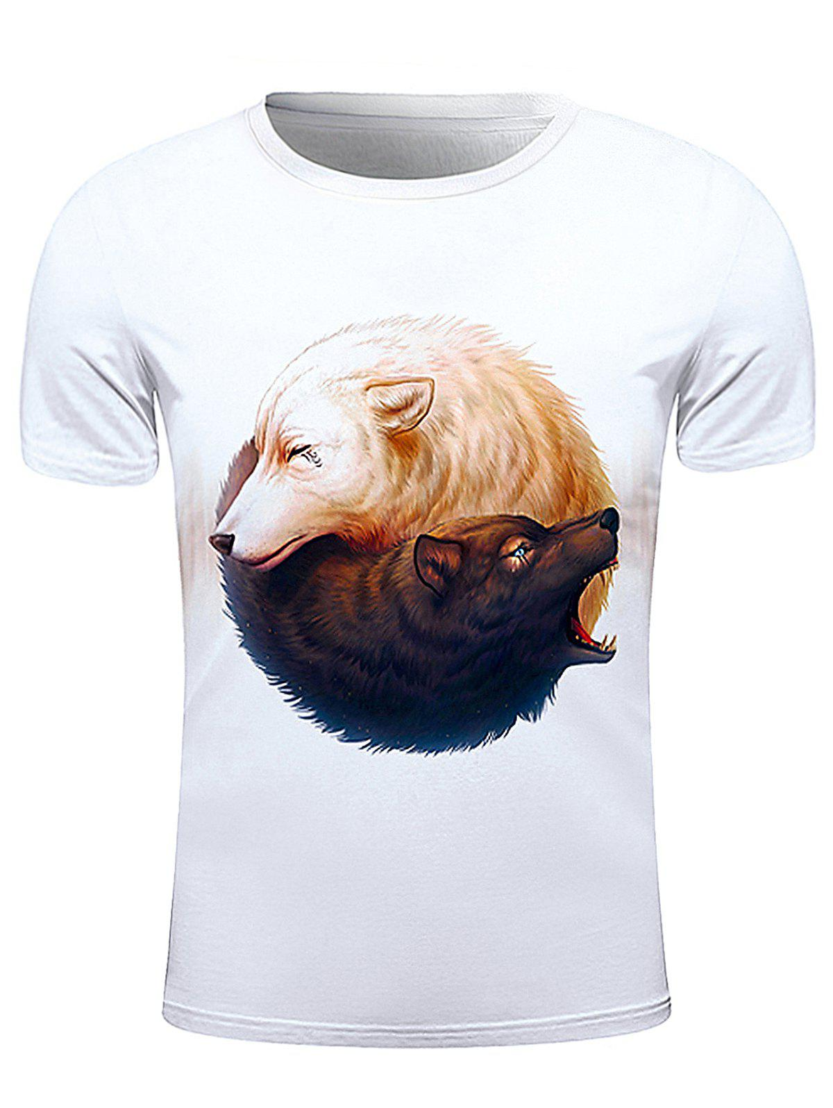 3D Wolf Print Round Neck Short Sleeve Stylish Men's T-Shirt - WHITE 2XL