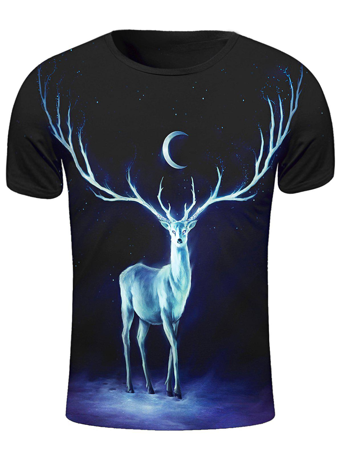 3D Starry Sky and Elk Print Round Neck Short Sleeve Stylish Men's T-Shirt - BLACK 2XL