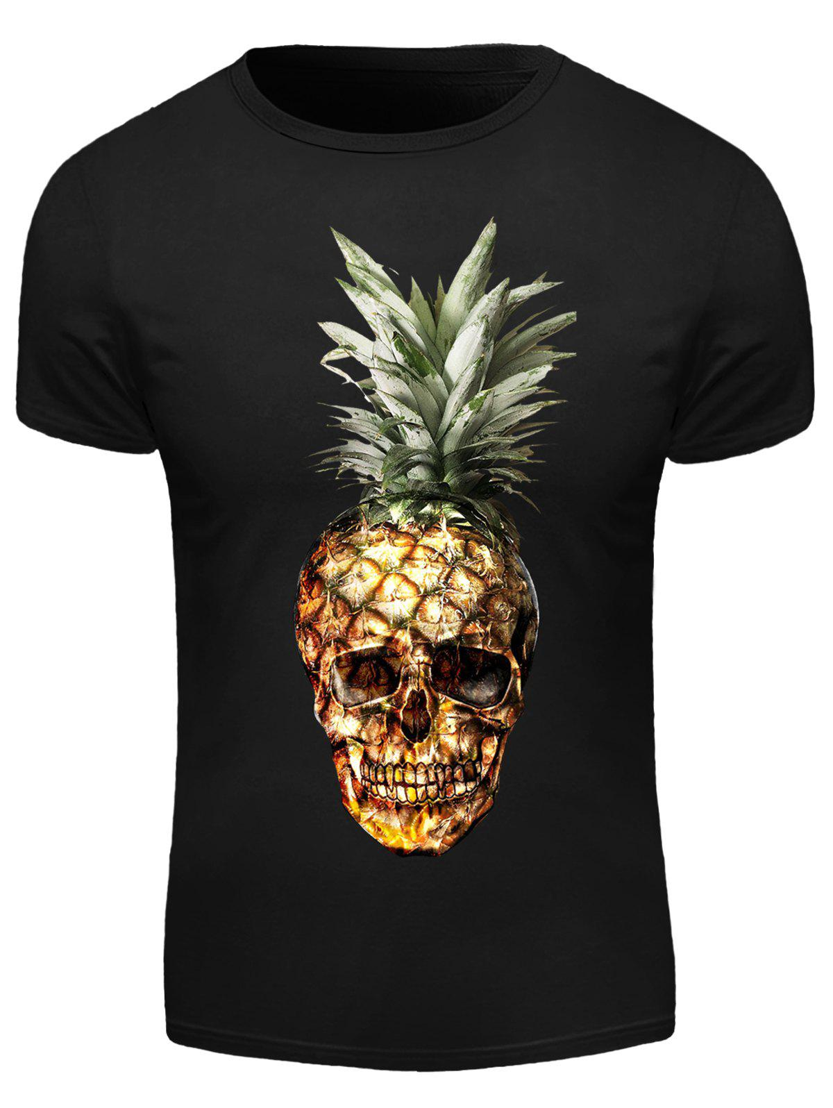 Round Neck 3D Pineapple Skull Print Short Sleeve Men's T-Shirt