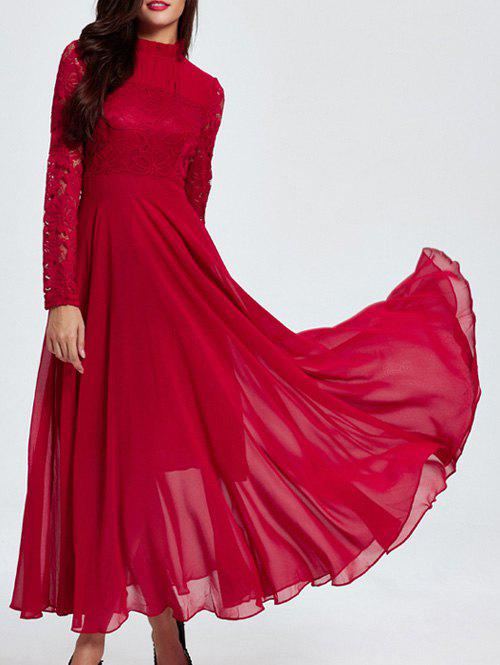 Lace Splicing Long Sleeve Maxi Dress - RED 2XL