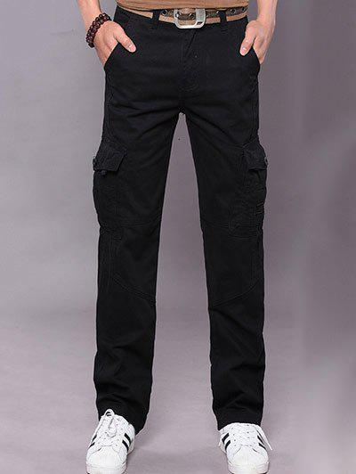 Plus Size Zipper Fly Slimming Straight Leg Pockets Pants - BLACK 38