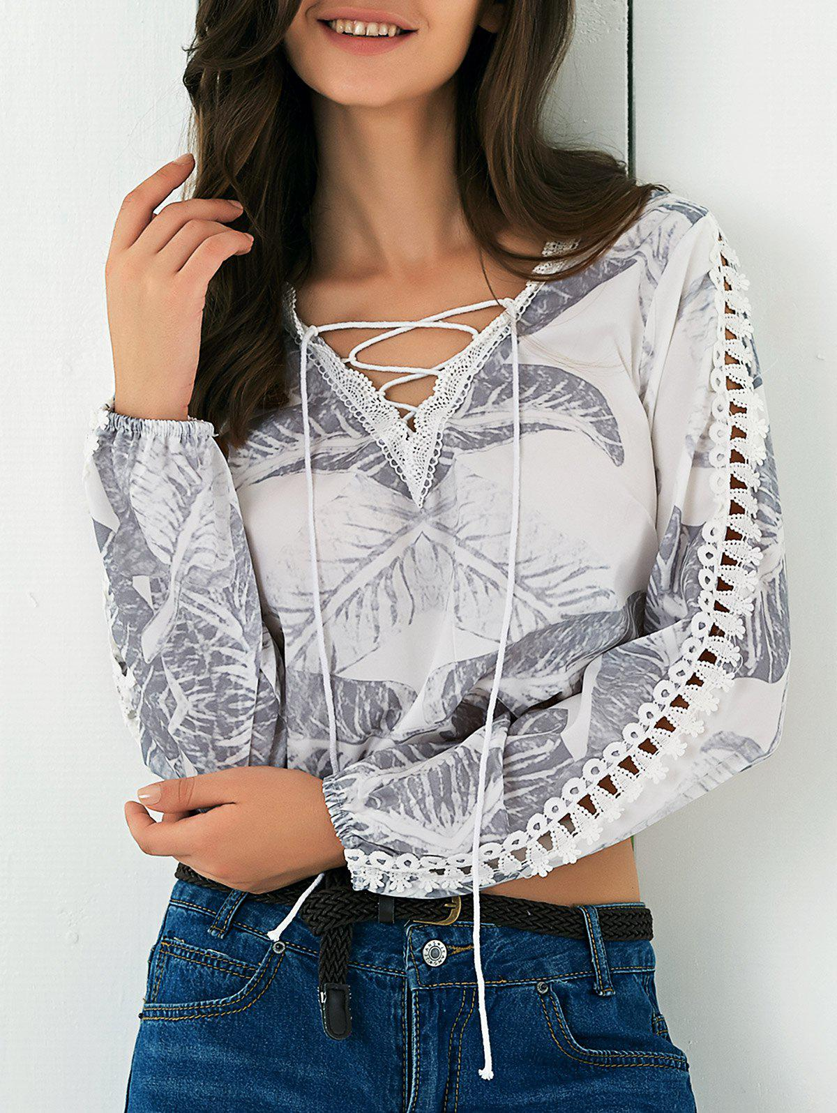 Hollow Out Lace Up Leaf Print Blouse - WHITE XL