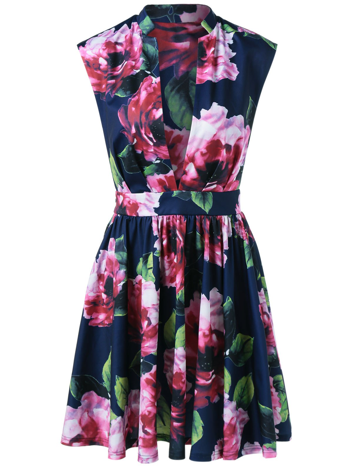 Low Cut Floral Fit and Flare Dress - PURPLISH BLUE M