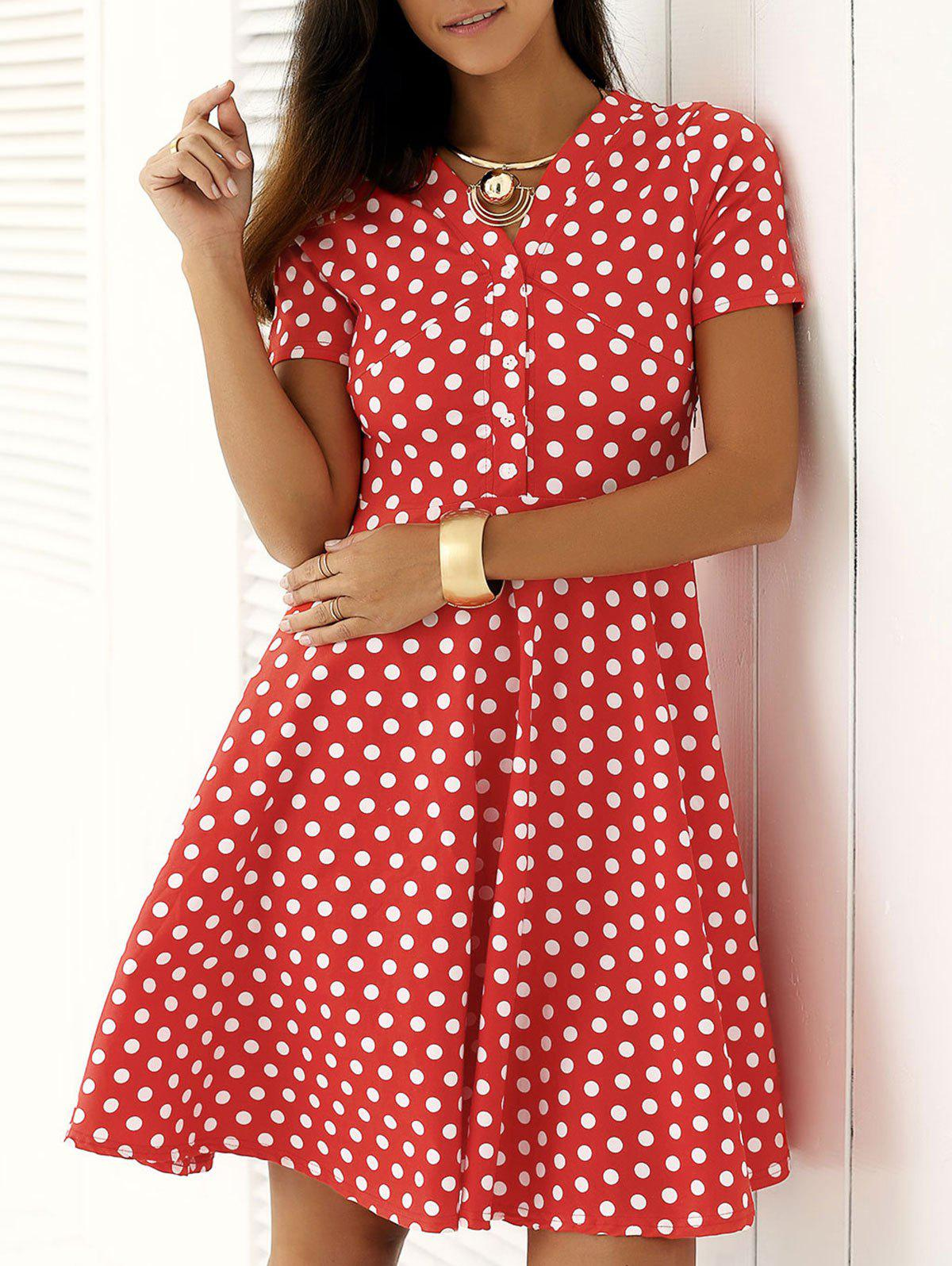 Vintage Single Breasted Polka Dot Print Dress - RED 2XL
