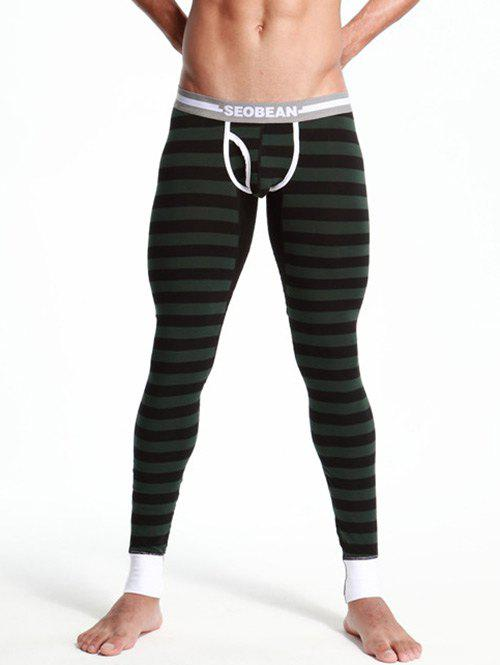 Striped Spliced Color Block U Convex Pouch Long Johns Pants