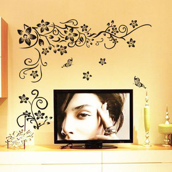 Room Decoration Flower Rattan Butterfly Pattern Wall Sticker - BLACK