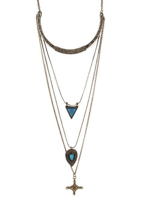 Faux Turquoise Triangle Cross Sweater Chain - GOLDEN