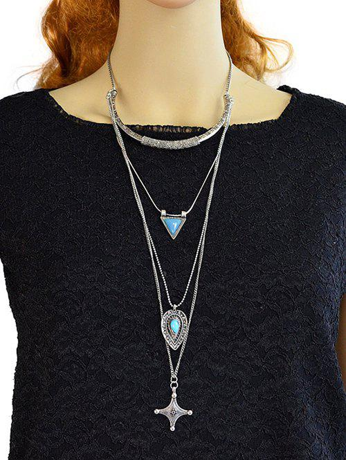 Faux Turquoise Triangle Croix Pull Chain - Argent
